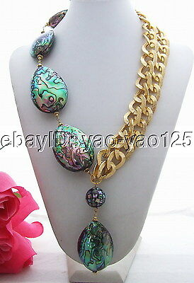 """Natural multi color abalone Shell Yellow gold plated  chain Necklace 23"""""""