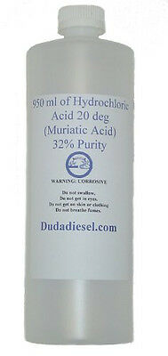 950 ml Hydrochloric Acid 32% Pure Muriatic Acid (HCL) Lab chemistry, cleaner
