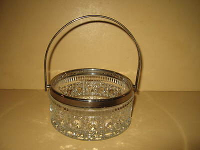 Vintage Candy Nut Dish Bowl Basket Cut Glass Silver Plate Marked  ENGLAND