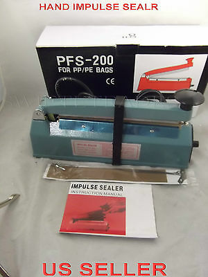 "8"" PFS-200 Hand Impulse Sealer  Heat Seal Plastic Poly Bag Closer Iron Shell"