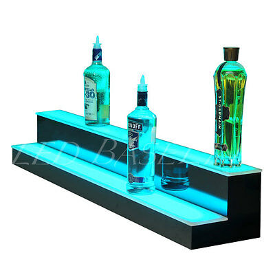"41"" 2 Step LED Lighted Back Bar Liquor Bottle Display Shelf Rack Glowing Home"