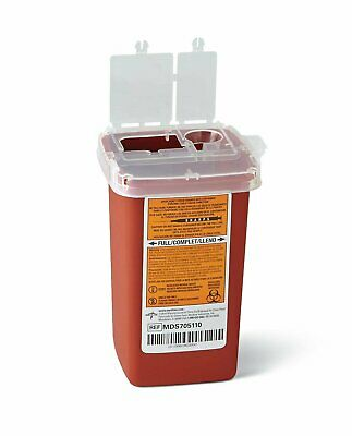 Sharps Container Biohazard Needle Disposal 1 Qt Size syringe lab supplies large