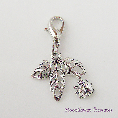 Tibetan Silver Leaves with Tiny Ladybug Dangle Charm fit Clip on Charm Bracelet
