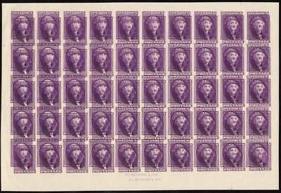 "Peckmore ""george Washington"" Double Impression Full Sheet Of 50 Wl4349 Gpc17B"
