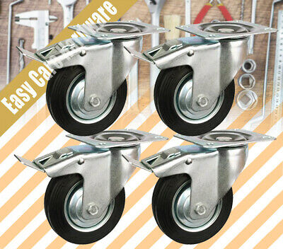 "4 X 4"" HEAVY DUTY SWIVEL Castor castors Wheel 100mm 2 with brake Wheels New"