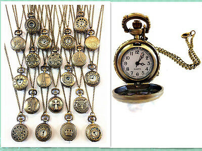 Fashion Antique bronze pocket watch pandent necklace chain in variety of designs