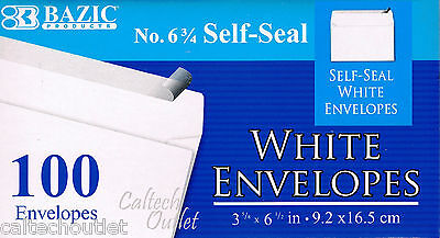 "100 Peel and Self-Seal White Letter Mailing Envelopes Shipping 3-5/8"" x 6-1/2"""