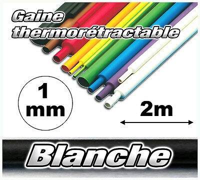 GBL1-2# gaine thermorétractable blanche 1mm 2m ratio 2/1 gaine thermo blanc