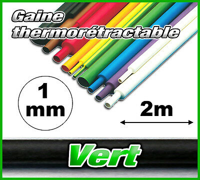 GV1-2# gaine thermorétractable verte 1mm 2m ratio 2/1 gaine thermo vert