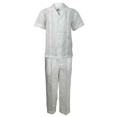 Boys White 100% Linen Set Pleated Embroidered Shirt & Pant Sizes 4 to 18