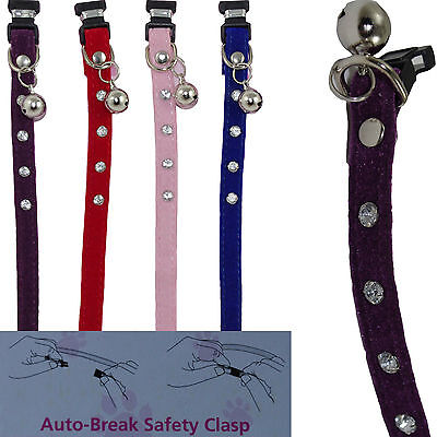 Faux Suede Luxury Diamante Cat Collar With Bell Auto Break Safety Clasp 4 Colour