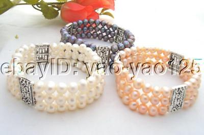 Wholesale 3 pieces White&Pink&Black Pearl Bracelet
