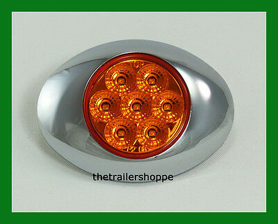 Low Profile Spyder LED Marker Clearance Light w/ Chrome Bezel 7  LEDs -Amber