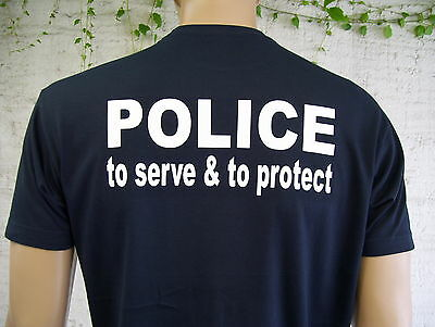 POLICE to serve & to protect, T-Shirt in marineblau / Text in weiß, S bis 5XL