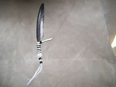 (1)native american made faux reglina hawk eagle feather hair hat tie with fringe