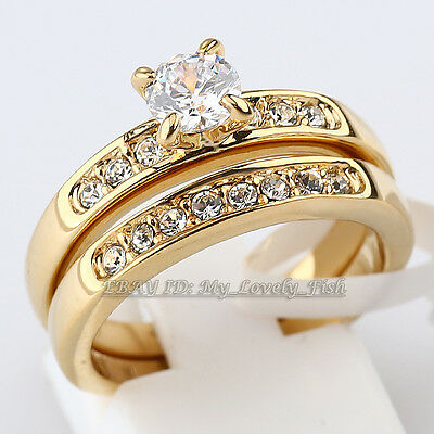Fashion Engagement Wedding Ring Set Band 18KGP Crystal Size 5.5-10