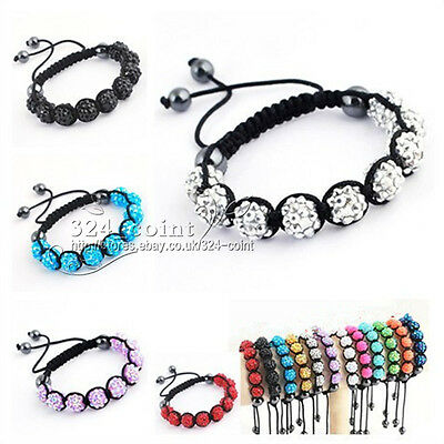 S005 Fashion beautiful Shamballa Bracelet 10MM 9 Disco Crystal Clay Balls gift