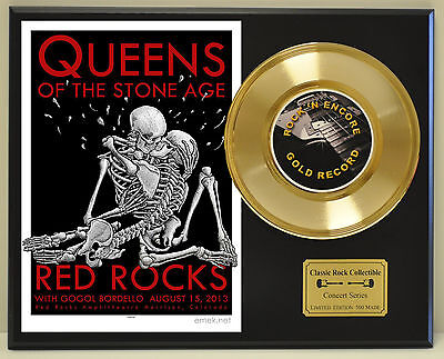 Queens of The Stone Age Concert Poster & 24k Gold Record Display - US Ships Free