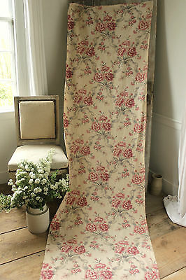 Vintage French printed linen fabric material upholstery weight ribbon and bow