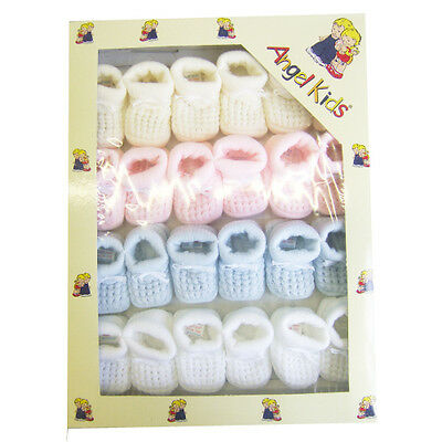 New Baby Knitted Booties In  4 Colours - One Size