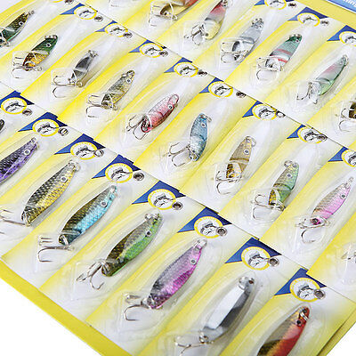 Lot 30 PCS Colourful Assorted Spoon Fishing Lures Metal Hooks Baits Tackle