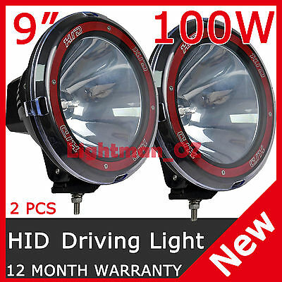 PAIR 100W 9INCH HID XENON Driving Lights Spotlight WORK OFFROAD 4WD Truck 12V