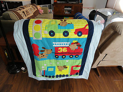 Handmade/ Homemade Baby Quilts-  Dog & Heavy Trucks-Optional Back