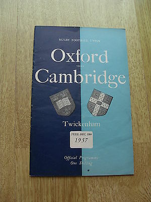 Oxford v Cambridge 1957 Rugby Programme