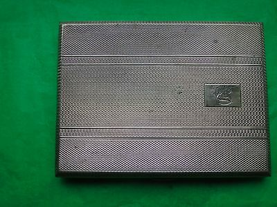 Art Deco Cigarette Case Sterling Silver Birmingham 1921 Engine Turn Design
