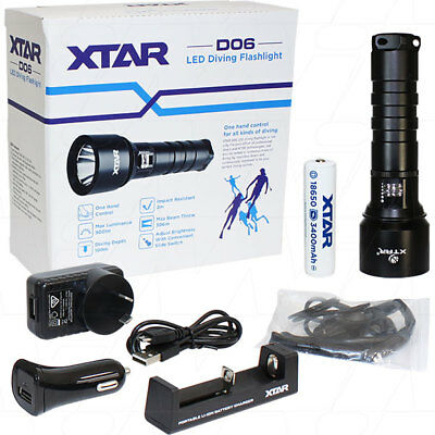 Xtar D06 Dive Light Torch Cree Led D06-U2 Set 60M Diving Hiking Under Water