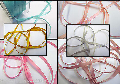 5  Metres Of Double Sided Satin Ribbon 7 mm For £1.25...6 Colours