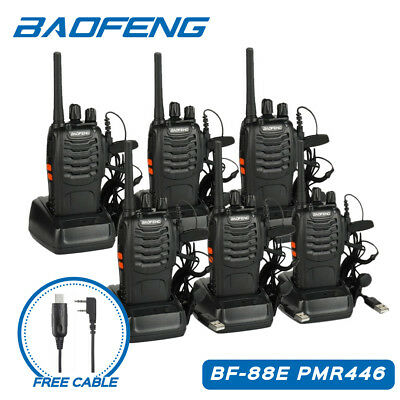 5×BaoFeng BF-888S+ Cavo+ Auricolare 5W 400-470MHz Walkie Talkie RICETRASMITTENTE