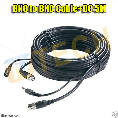 5M BNC to BNC + DC CCTV Cable Video And Power In One Cable Free Irish Delivery