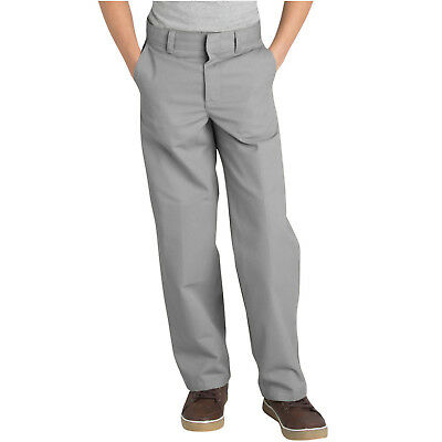 Dickies Boys Silver Gray Pant Flat Front Classic Fit School Uniform Size 4 to 20