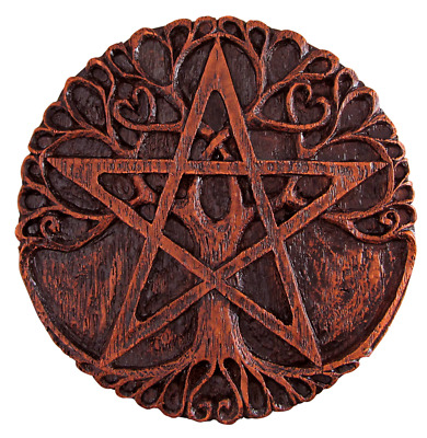 Tree Pentacle Plaque - Wood Finish - Dryad Design - Pagan Wiccan Wicca Pentagram