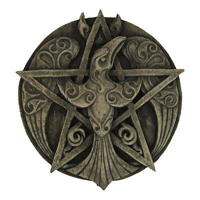 Crescent Raven Pentacle Plaque - Stone Finish - Dryad Design - Pagan Wiccan Crow
