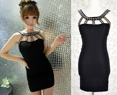 ♡IT♡ Sexy Cut-out Sequined Beaded LBD Mini Bodycon Dress Off-shoulder Club Pub