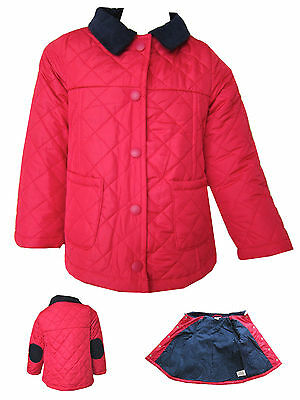 Girls Quilted Jacket/Coat Cerise/Pink Ex-Store Quality Padded Jacket Ages 2Y-8Y