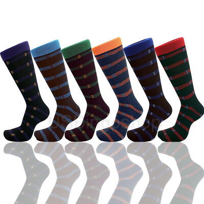 Lot of 6 Pairs New Cotton Men Stripped Wedding Style Dress Socks Size 10-13 ASST