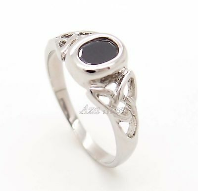 Silver CELTIC Knot Black Onyx CZ Stainless Steel Ring US Size 6,7,8, 9