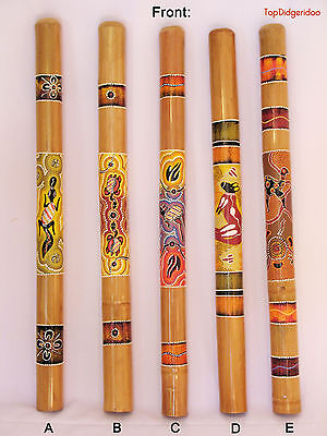 "Aboriginal DIDGERIDOO 39""(100cm) Dot-Painted Ornaments +Bag +Beeswax Mouthpiece"
