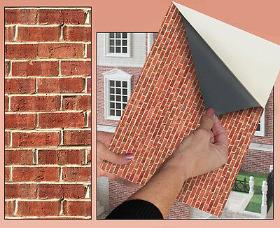 SELF ADHESIVE DOLLS HOUSE WALLPAPER 1/12th SCALE VINYL SHEET  Brick Wall - 58
