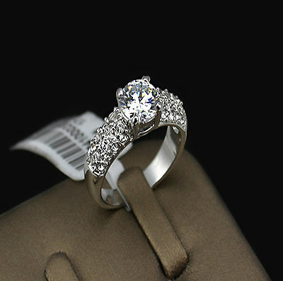 Solitaire with Accents 1.5 Ct Diamond 925 Sterling Silver White Gold Plated Ring