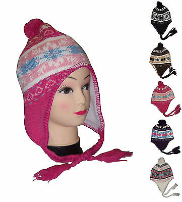 Winter Snow flakes Knitted Peruvian Ear flap Ski Hat Brushed Lined Beanie Cap