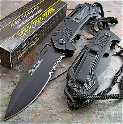 TAC FORCE Spring Assisted Opening Black Tactical Rescue Folding Pocket Knife NEW