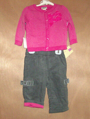 Cherokee Infant Girls 3 Piece Pants Sweater Bodysuit Outfit Set Size 9M NWT