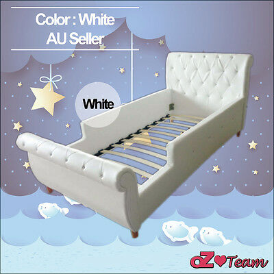 Kids Girls Boys Children Baby Bed Frame PU Leather Diamond Crystal Single Size