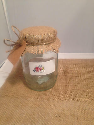 6 Large Hessian Jam Jar Covers