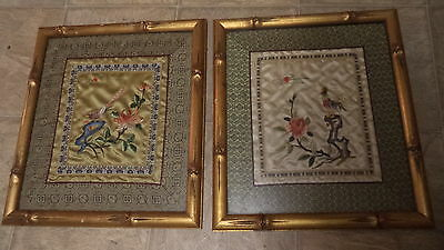 Lovely Pair of Asian Floral Embroidered Silk Pictures Gold Bamboo Glass Frame