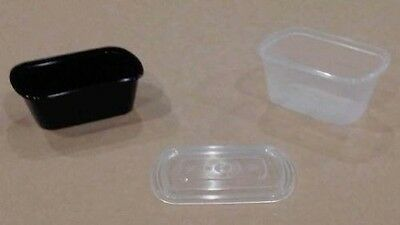 3oz. PORTION CLEAR CUPS CONTAINERS W/ LIDS 500ct MICROWAVE STACK DESSERTS SAUCES